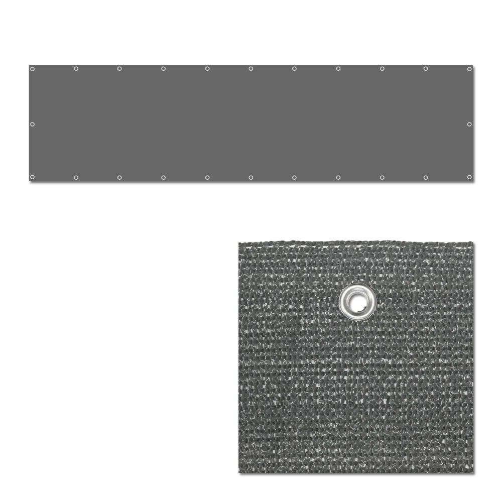 Balkonbespannung - Windschutz - Balkonverkleidung - Balkonsichtschutz groß 600x90cm mit Farbauswahl (grau)