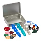 Petift Silicone Guitar Finger Fingertip Protectors,Guitar Picks,Thumb & Finger Picks,Pick Holde,Music Page Clip and Organizer Box Useful for Acoustic Guitar Starter and Strings Instrument,Totally 28pc (Tamaño: Guitar Finger Protect28)