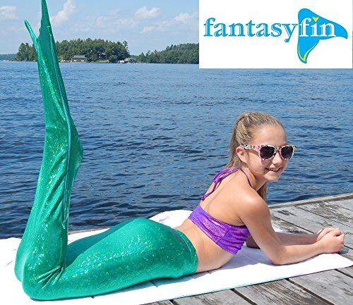 #1 Fantasy Fin Swimmable Mermaid Tail & MonoFin, Shimmer Green with FREE BIKINI TOP