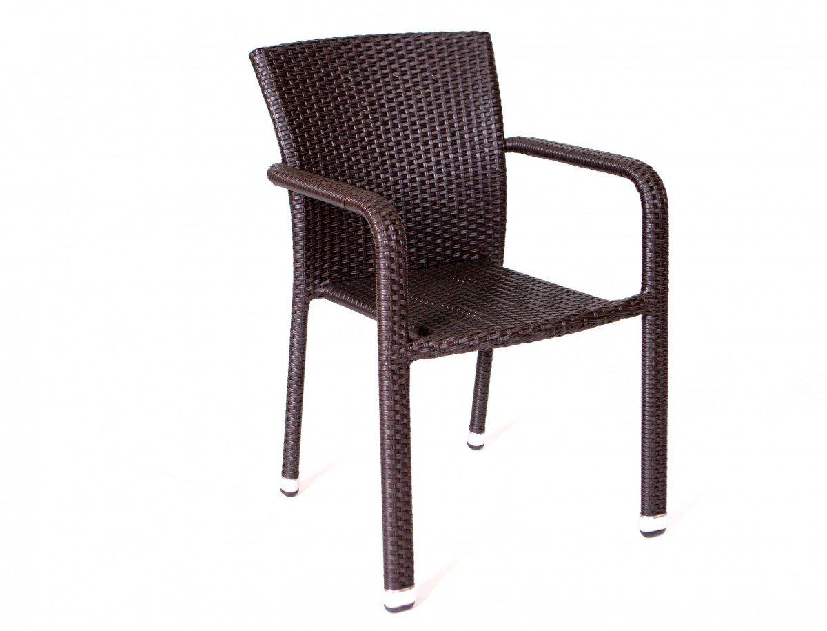 Stapelsessel 'Yoko' Rattan beige grau braun Stapelstuhl stapelbar Gartenstuhl Stuhl Sessel , Farbe:Braun günstig