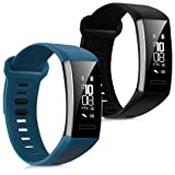 kwmobile Silicone Watch Strap for Huawei Band 2 / Band 2 Pro - 2x Fitness Tracker Replacement Band Wristband Bracelet Set with Clasp (Color: .black dark blue)