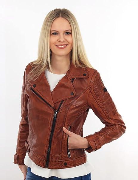 Damen Lederjacke Bikerjacke Cognac Echtleder Tailliert von Reborn Attitude Gr. S - XL