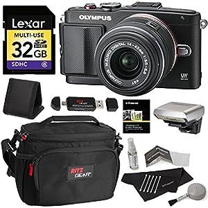 Olympus PEN E-PL6 Digital Camera with 14-42mm II Lens + Lexar 32GB SDHC Memory Card + Ritz Gear CAMERA BAG + Ritz Gear Reader Writer + Polaroid Cleaning Kit + Polaroid Screen Protector + Card Wallet