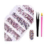 2800Pcs SS4-SS16 Mixed Sizes AB Crystal Rhinestones - Color Super Shiny Nail Art FlatBack Crystals with Wax Rhinestone Pen Tweezers for 3D Nail Art Decorations Face Makeup Phone Cases (Light Pink AB) (Color: Light Pink AB, Tamaño: one size)