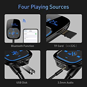 Bluetooth FM Transmitter for Car,Lamyik Car Bluetooth Wireless Radio Transmitter Adapter with Hand-Free Calling,Music Player Support TF Card and USB D