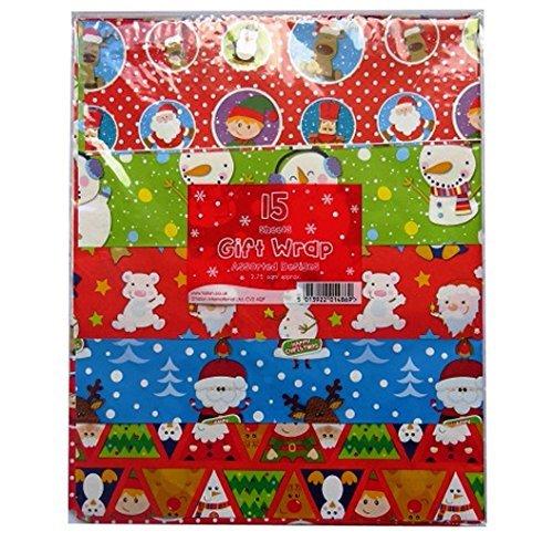 30Fogli di carta da regalo natalizia-Bambini, tradizionale, Babbo Natale, pupazzo di neve, Renna, Fiocco di neve (2confezioni da 15fogli)