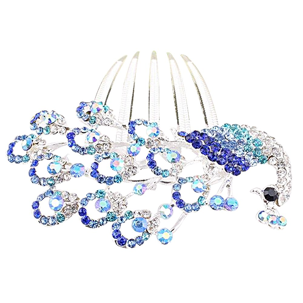 Colors Rhinestone Flower Peacock Tail Antique Tuck Hair Claw Hair Comb Hairpin 2