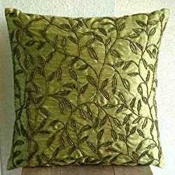 Tropical - Throw Pillow Covers - Silk Pillow Cover with Bead Embroidery