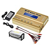 LiPo Charger Balance Discharger 1S-6S Digital Battery Pack Charger for NiMH/NiCD/Li-Fe Packs w/LCD Display Hobby Battery Charger w/Tamiya/JST/EC3/HiTec/Deans Connectors + Power Supply (Color: Navy)