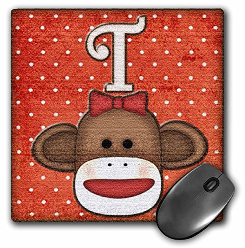 3dRose LLC 8 x 8 x 0.25 Inches Mouse Pad, Cute Sock Monkey Girl Initial Letter T (mp_102823_1) at 'Sock Monkeys'