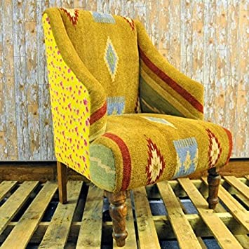 Hand Woven Traditional Kilim Aztec Ethic Armchair Arm Chair