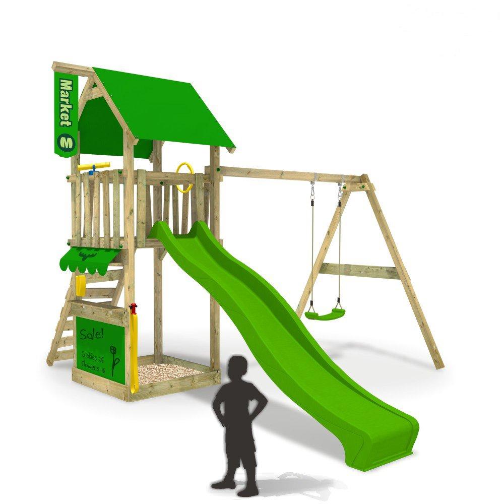FATMOOSE MagicMarket Master XXL Spielturm Kletterturm mit Schaukel Baumhaus Holz (Rutschenfarbe: Hellgrün) online kaufen