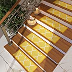"[Set of 7] Gold Yellow Stair Tread Rugs | Modern Design Trellis Lattice Carpet Pads [Easy to Clean] Rubber Non-slip Non-skid Backing | Nylon Low Pile 9"" x 31"" Stair Treads"