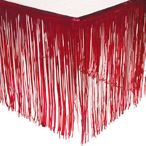 Fun Express Red Fringe Table Skirt