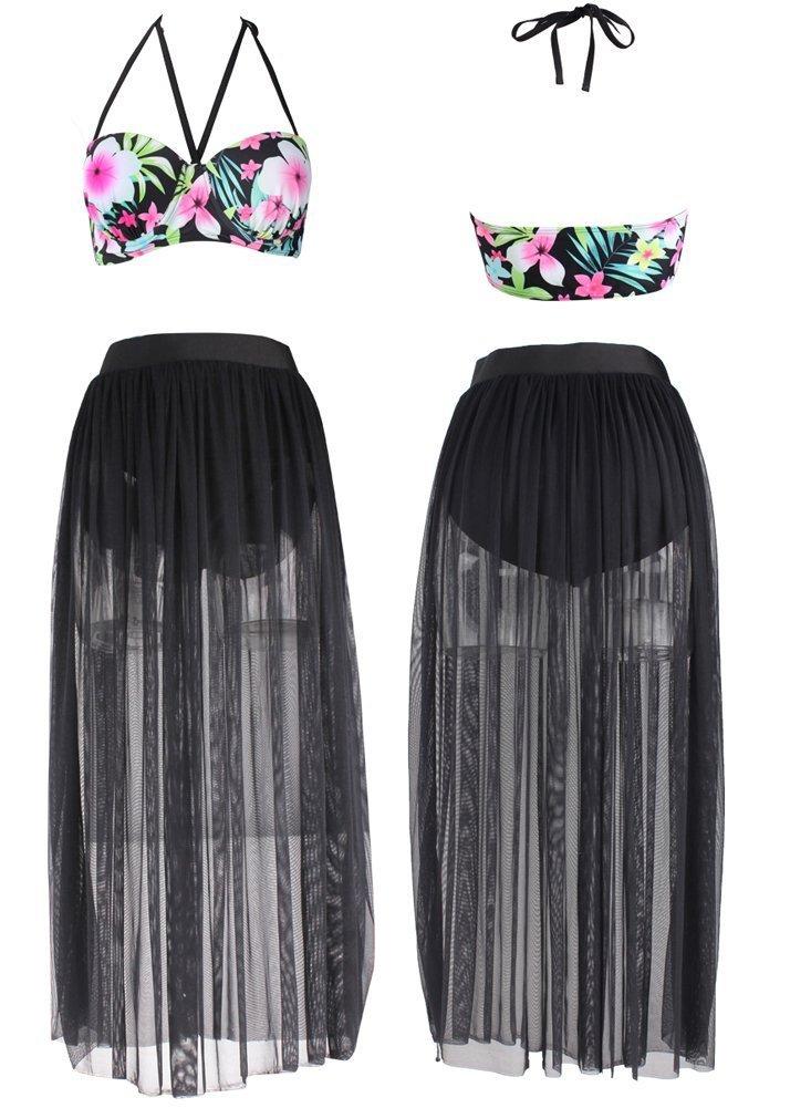 Dasbayla Women Fashion Floral Bathing Suit Push up Skirt Swimsuit Plus Size Bikini 0