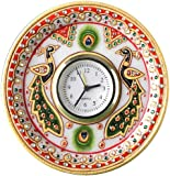 Aapno Rajasthan Kundan Work Round Shaped Marble Peacock Motif Clock (15.24 cm x 15.24 cm)
