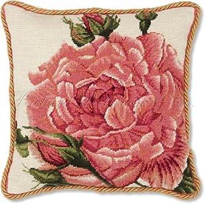 Blush Rose Throw Pillows : Amazon.com - Elegant Large Pink Rose Floral Theme Needlepoint Pillow Royal Blush Rose - Throw ...