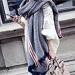 Chili(チリ)秋冬 マフラー ストール ストライプ柄 カシミヤコットン質 大判 厚手 可愛い 大きめショール ロングスカーフ バリフリンジ レディース女性ガールズ (ライトブルー)