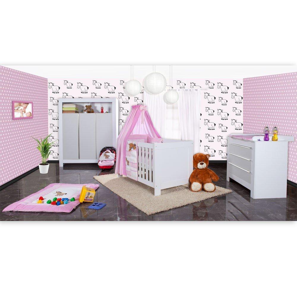Babyzimmer Felix in weiss/grau mit 3 türigem Kl 19 tlg. + Prestij, rosa