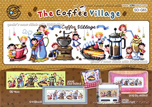 The Coffee Village - counted cross stitch Kit. Cross stitch Package. SODAstitch SO-G65 (Soda Cross compare prices)