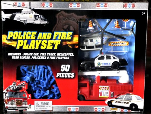 Police and Fire Playset by Imperial Toy - 1
