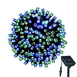 Solar Powered String Lights, LOENDE 72ft 200LED Blue-Green 8 Modes Waterproof Christmas Lights for Thanksgiving Decor, Indoor, Outdoor, Party Decoration, Holiday, Seasonal, Xmas Tree, Bistro