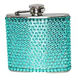 Bling 5-Ounce Hip Flask with Rhinestones, Mini, Teal