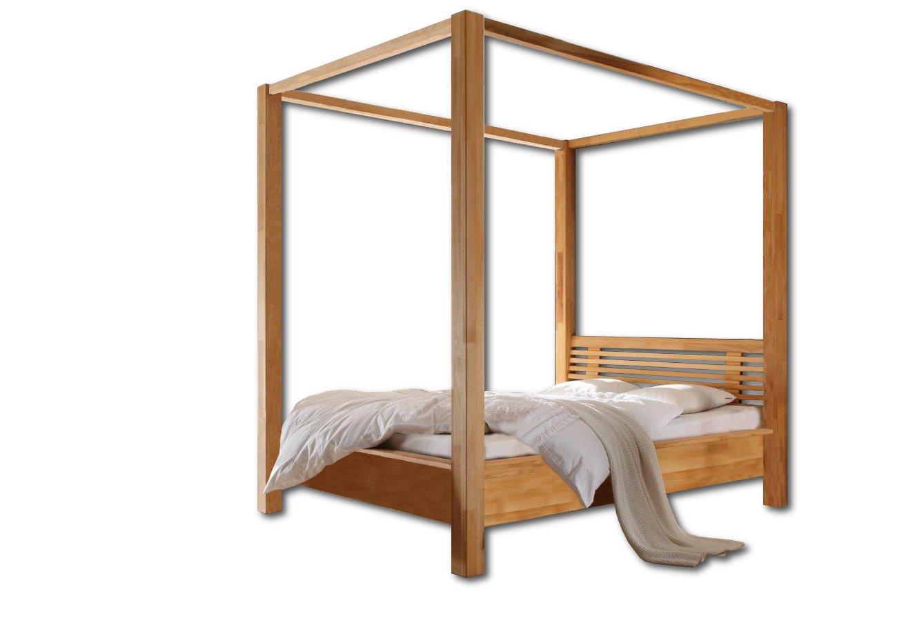 SAM® Himmelbett Tanja Kernbuche 140×200 cm mit Kopfteil Massivholz Lieferung erfolgt zerlegt per Spedition online kaufen