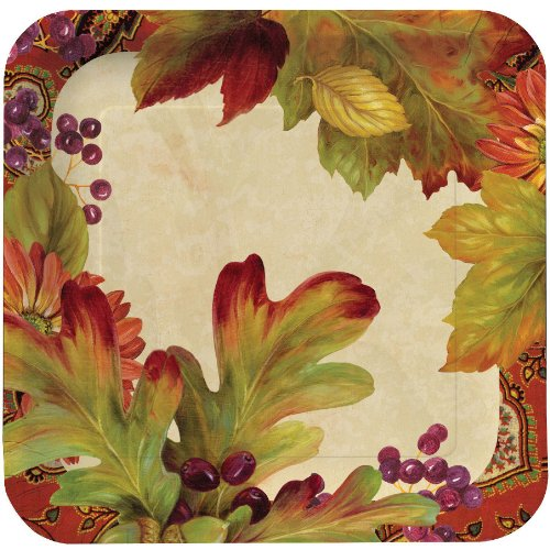 Creative Converting Leaves n' Berries Square Dinner Plates, 8 Count - 1