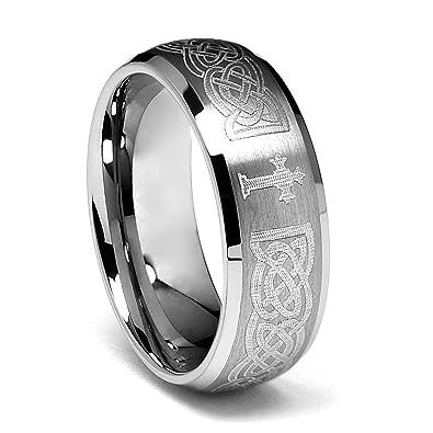 Men S Cross Wedding Band Rings Tungsten Black Gold Diamond