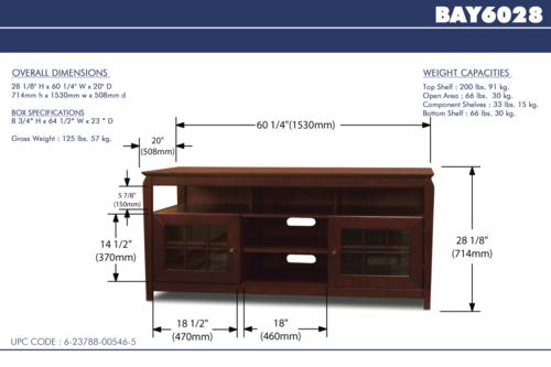 TechCraft BAY6028 60-Inch Wide Flat Panel TV Credenza - Walnut