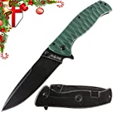 Pocket Folding EDC Knife – Best Tactical Survival Hunting Military Bushcraft Flip knives - Foldable Camping Outdoor with Black G-10 Handle for Man 01305 (Color: Blue 1, Tamaño: Medium)
