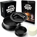 MiiKO Stuffed Burger Press with 20 Free Burger Patty Papers and Recipe E-Book - 3 in 1 Burger Press/Slider Press/Hamburger Maker (Color: black)
