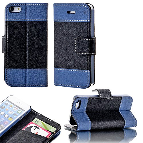 Mylife (Tm) Night Blue And Black- Modern Design - Textured Koskin Faux Leather (Card And Id Holder + Magnetic Detachable Closing) Slim Wallet For Iphone 5/5S (5G) 5Th Generation Itouch Smartphone By Apple (External Rugged Synthetic Leather With Magnetic C