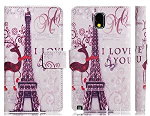 Eiffel Tower Print Faux Leather Flip Case with Card Slots & Stand for Samsung Galaxy Note 3 N9000 N9005