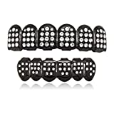 LuReen 14k Gold Plated Iced Out Grills with Diamond Hip Hop Teeth Top and Bottom Set (Hematite) (Color: Hematite)