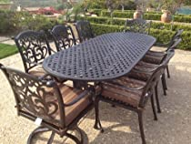 """Hot Sale Heritage Outdoor Living Flamingo Cast Aluminum 9pc Outdoor Patio Set with 42""""x102"""" Oval Table - Antique Bronze"""