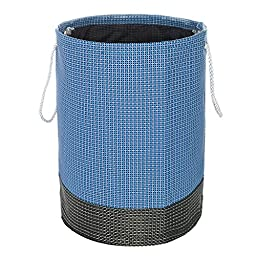 Lixin Teslin DIY Laundry Basket 17.7*13.7-inch, Large Household Essential Modern Sturdy Round Folding Drawstring Tote Laundry Hamper with Rope Handle(A-blue with Black)