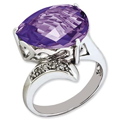 Sterling Silver Amethyst and Rough Diamond Ring - Ring Size Options Range: J to T