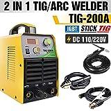 TOSENBA TIG Welder Tig/Arc/Stick Tig Welding Machine 200Amp 110/220VAC Inverter IGBT MMA Digital Display TIG200A