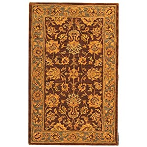 Safavieh Heritage Collection HG343J Handmade Brown and Blue Hand-spun Wool Area Rug, 3 by 5-Feet