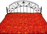 Oxblood-Red Gujarati Bedspread with Metallic Thread Embroidered Folk Motifs - Pure Cotton
