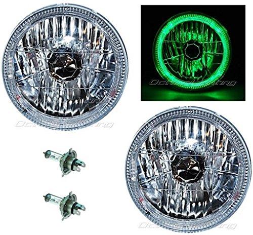 "Octane Lighting 55 56 57 Chevy Halogen Green Led Halo Headlight Headlamp H4 Light Bulbs 7"" Pair"