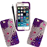 For Apple Iphone 5 5s Pink Heart On Purple Silver Diamond Crystal Bling Gem Hard Shell Protective Front Back Case Cover + Stylus
