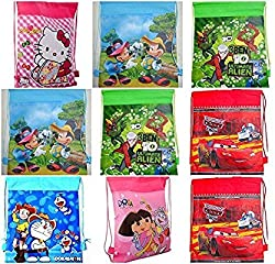 Royals Multicolor Printed Kids Haversack Bags (Pack Of - 12) With 20Pcs Ballons