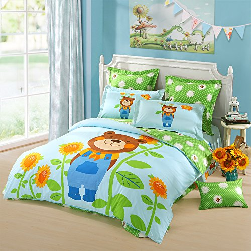 LOVO KIDS Cute Bear Sunflowers 100% Cotton 300TC 3-Piece Bedding Set 1x Duvet Cover 1x Flat Sheet 1x Sham Twin