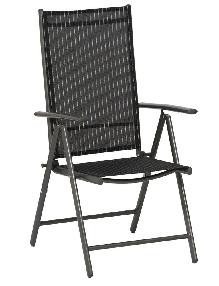 Siena Garden 733152 Klappsessel Delphi, Aluminiumgestell graphit, Ranotex-Textilfaser schwarz / Nadelstreifen silber, 56 x 65 x 107 cm jetzt kaufen