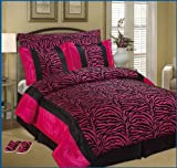 Full / Queen Faux Silk and Flocking Printing Black / Pink Zebra Comforter S ....