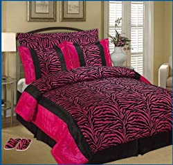 High Quality Cal King Faux Silk and Flocking Black / Pink Comforter Set Bedding-in-a-bag