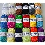 18x 50 g Cotton Fun Häkelgarn, Farben wie abgebildet